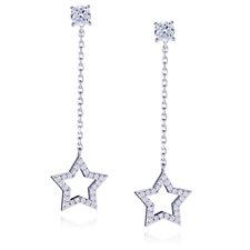 Diamonique 0.7ct tw Front & Back Star Drop Earrings Sterling Silver