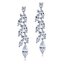Michelle Mone for Diamonique 8.5ct Marquise Drop Earrings Sterling Silver