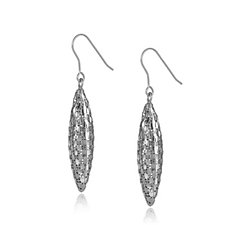 Italian Silver Weave Pattern Long Drop Earrings Sterling Silver