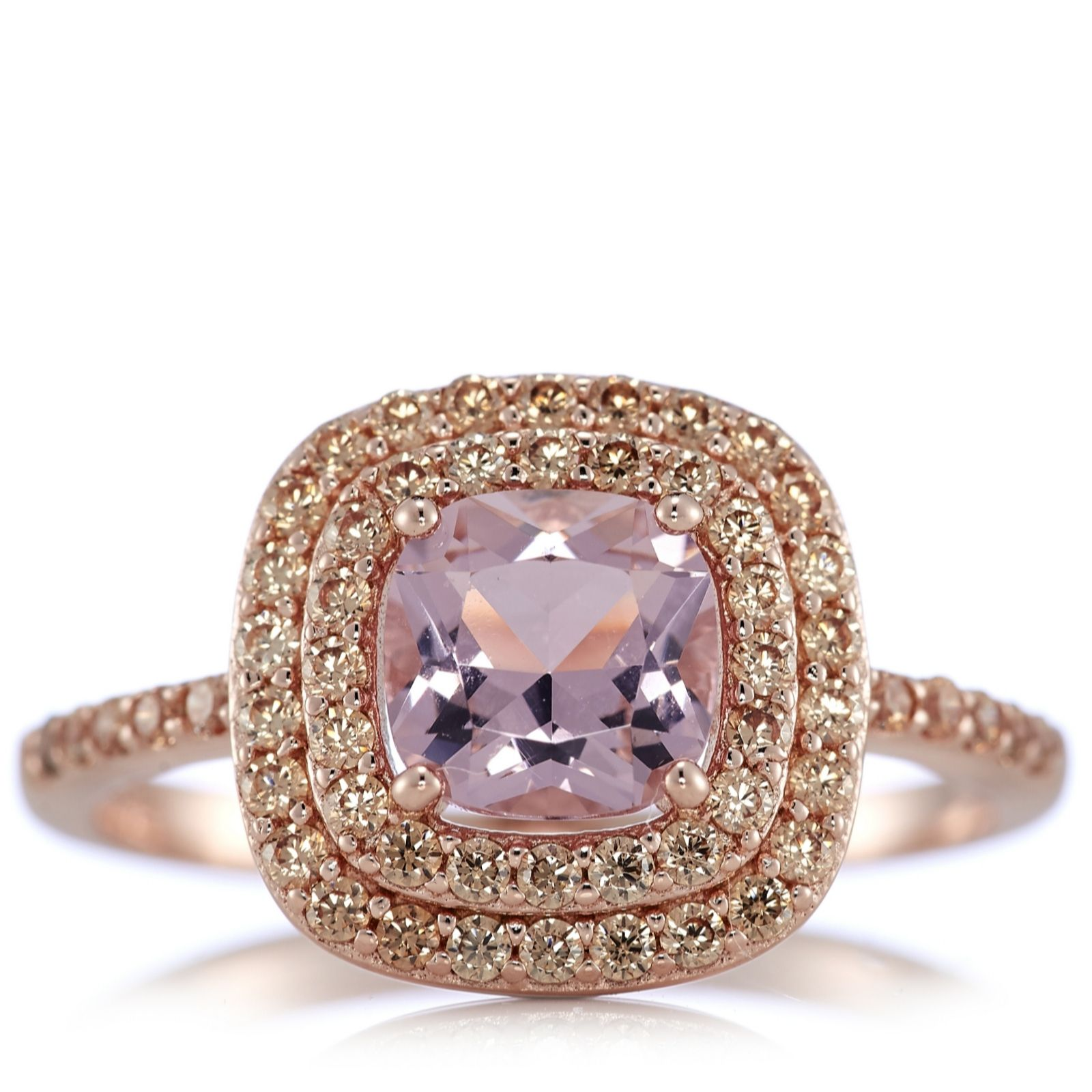 Diamonique 16ct Tw Morganite & Rose Gold Ring Sterling Silver  309954