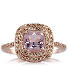 Diamonique 1.6ct tw Morganite & Rose Gold Ring Sterling Silver