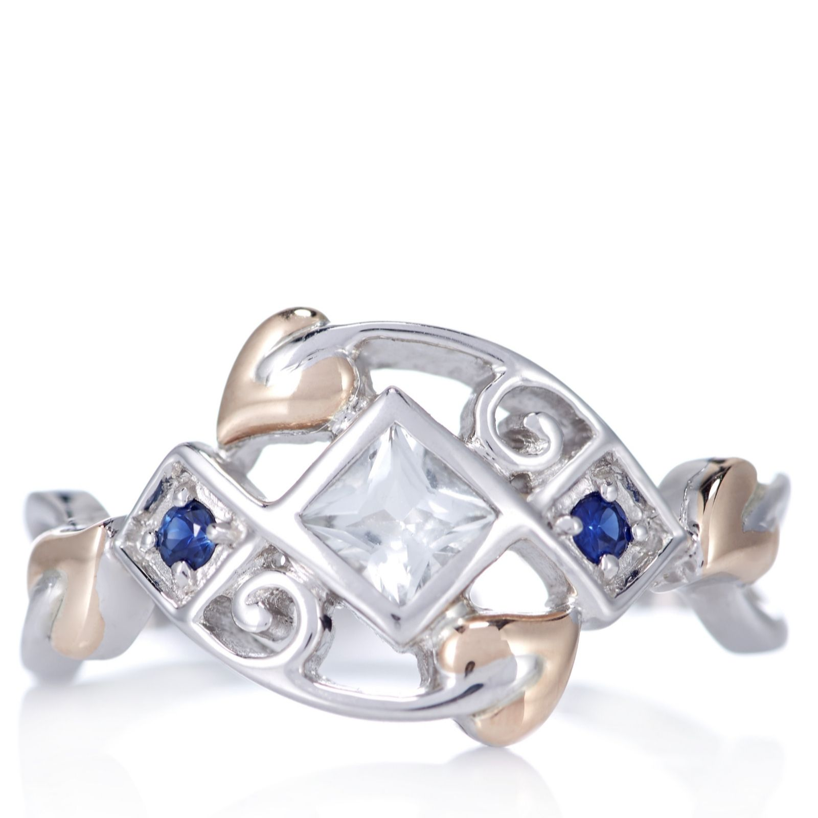 sterling bluestone gold rose uk c sapphire ring n anniversary princess jewellery silver clogau qvc