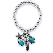 Bibi Bijoux Turquoise Feather Charm Ball Bead Stretch Bracelet