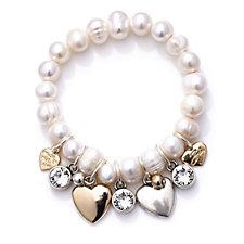 Bibi Bijoux Cultured Fresh Water Pearl with Charms Stretch Bracelet