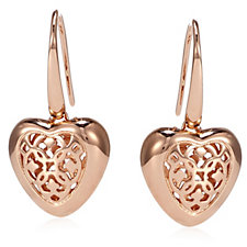 Bronzo Italia Heart Design Openwork Earrings