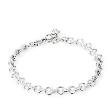 Diamonique 0.8ct tw Circle Link 21cm Bracelet Sterling Silver