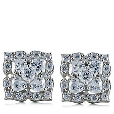 Diamonique 0.5ct tw Flower Stud Earrings Sterling Silver
