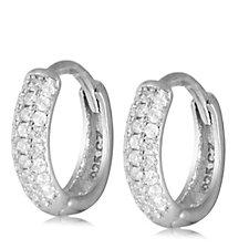 312855 - Diamonique 0.5ct tw Huggie Earrings Sterling Silver
