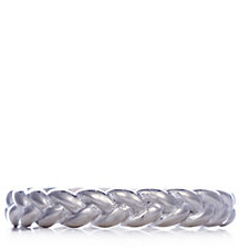 Bianca Platinum Plated Braid Ring Sterling Silver