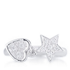 Diamonique 0.12ct tw Star & Heart Ring Sterling Silver