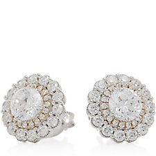 Michelle Mone for Diamonique 2.8ct tw 2 Tone Stud Earrings Sterling Silver
