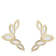 9ct Gold Mother of Pearl Leaf Earclimbers