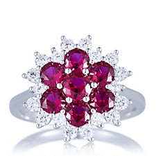 Diamonique 2.5ct tw Simulated Ruby Flower Ring Sterling Silver
