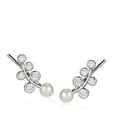 Diamonique 0.7ct tw Faux Pearl Earclimbers Sterling Silver