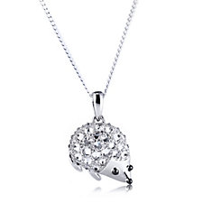 Diamonique 1.2ct tw Hedgehog Pendant & 42cm Chain Sterling Silver