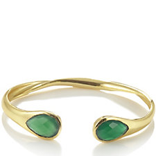 Azuni London 24ct Gold Plated Semi Precious Stone Twist Bangle