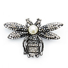 Butler & Wilson Crystal Fly with Simulated Pearl Brooch