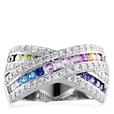Diamonique 1.1ct tw Multi Colour Band Ring Sterling Silver