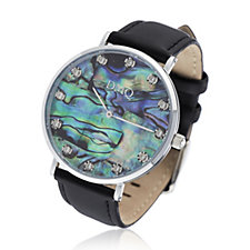 Diamonique 0.4ct tw Mother of Pearl Dial Leather Strap Watch