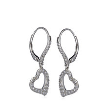 Diamonique 0.6ct tw Pave Heart Leverback Earrings Sterling Silver