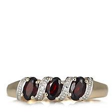 0.96ct Garnet & Diamond Accent 3 Stone Ring 9ct Gold