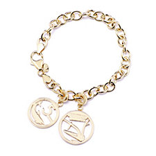Bronzo Italia Coin Charms & Rolo Link 19cm Bracelet