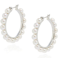 Honora 4.5-5mm Cultured Pearl Hoop Earring Sterling Silver