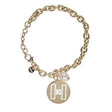 K by Kelly Hoppen Pearl & Tag Charm Bracelet 18cm +Extender Bronze