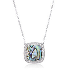 Diamonique 0.4ct tw Abalone Pendant & 45cm Chain Sterling Silver