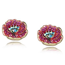 Butler & Wilson Crystal & Enamel Poppy Collection Stud Earrings