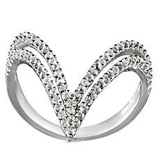 K By Kelly Hoppen Chevron White Topaz Ring Sterling Silver