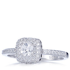 Diamonique 0.9ct tw Solitaire Pave Ring Sterling Silver