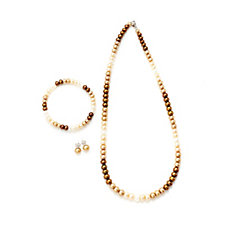 Honora Cultured Ombre Pearl Necklace, Earrings & Bracelet Set Sterling Silver