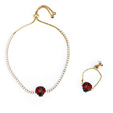 Butler & Wilson Ladybird Ring & Bracelet Set