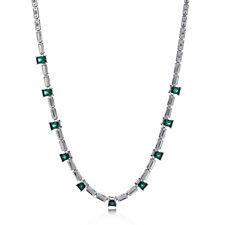 Princess Grace Collection Simulated Emerald & Diamond 42cm Necklace