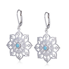 Sleeping Beauty Turquoise Floral Design Drop Earrings Sterling Silver