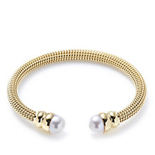 Honora 9.5-10mm Cultured Button Pearl Bangle Stainless Steel
