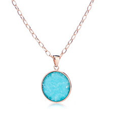 Bronzo Italia Amazonite Disc Pendant Necklace