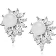 Frank Usher Simulated Pearl Crystal Flower Earrings