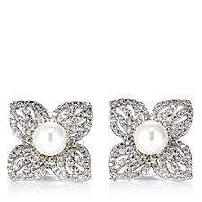 Frank Usher Flower & Simulated Pearl Stud Earrings