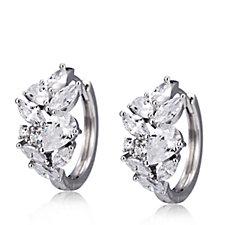 Diamonique 2.6ct tw Huggie Earrings Sterling Silver