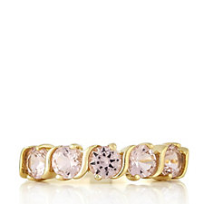 Diamonique 1.2ct tw Band Cross Over Gold Plated Ring Sterling Silver