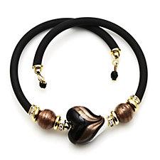 Murano Glass Peacock Heart Wrap Bracelet