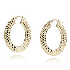 Bronzo Italia Diamond Cut Hoop Earrings