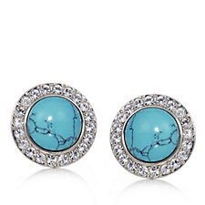 Princess Grace Collection Simulated Turquoise Button Earrings