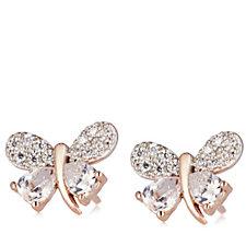 Diamonique 0.9ct tw Butterfly Stud Earrings Sterling Silver
