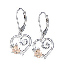 Clogau 9ct Rose Gold & Sterling Silver Primrose Heart Drop Earrings