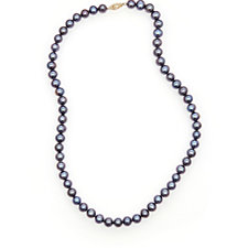 Honora 7-8mm Cultured Pearl Black 45cm Necklace 14ct Gold