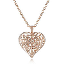 306762 - Bronzo Italia Openwork Heart 60cm Necklace