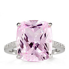 Diamonique 11.5ct tw Golconda Cushion Cut Ring Sterling Silver